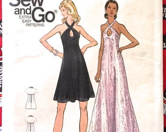 Rare HALTER DRESS Sewing Pattern ~ Retro Vintage 1970s Cross Front Key-Hole Evening Dresses 2 Lengths ONLY 4 Pattern Pieces