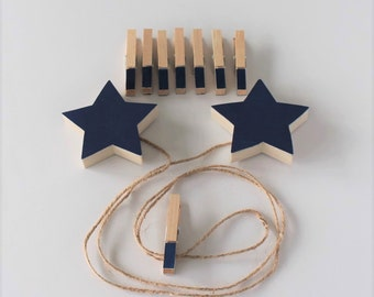 Star Art Display Clips, Star Art Cable, Navy, Star Baby, Star Nursery Decor, Star Wall Art, Star Picture Line, Star Art Display