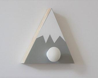 Mountain Wall Hook, Mountain Nursery, Mountain Wall Art, Wood Mountain, Gray and White, Adventure Kids Decor, Adventure Baby Nursery
