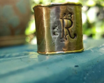 Monogram adjustable brass ring, Monogram ring, wide adjustable ring, statement ring, bff gift, adjustable ring, personalized jewelry