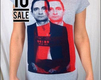 10 Dollar Sale - 3D Johnny Cash Womens Heather Gray Tshirt