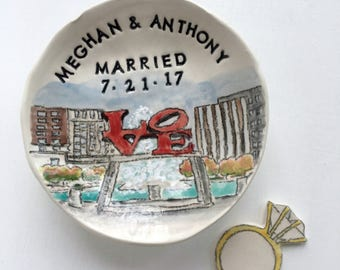 Personalized wedding gift ring holder unique engagement gifts for couple  from photo handmade pottery by Cathie Carlson
