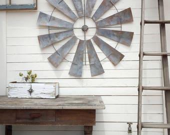 """Full Windmill Head, 40"""" Wall Decor, Rustic Farmhouse, Industrial Steel Windmill, Rusty Home Decor"""