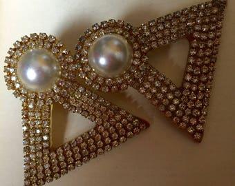 SALE- Hansen Lucite Rhinestone Earrings - big earrings - retro runway - high-end bijou - 1980s vintage - designer - faux pearl - troppobella