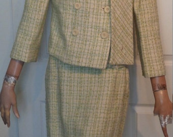 Vintage 60s Cream & Green Wool Double Breasted Suit B36