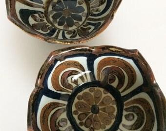 Ken Edwards Lotus Bowls El Palomar, Set of Two Vintage Mexican Tonala Pottery Bowls