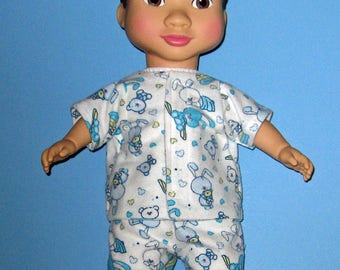 "Wonder Crew, Doll Clothes, Blue Bunny Pajama Set, 14""  or 15"" Doll Clothes,  Boy Doll Clothes,Will, James, Erik, Marco"