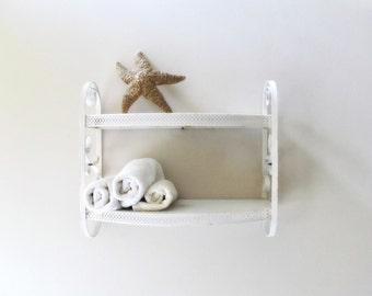 white chippy tin wall shelf cottage bath decor two tier pierced metal scroll sides