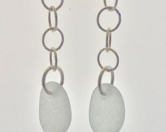 White Sea Glass and Sterling Silver Dangle Earrings