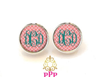 Quatrefoil Monogram Earrings, Personalized Earrings, Coral Stud Earrings, Monogram Jewelry (464)