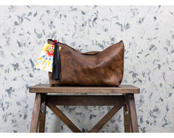 TIMBER CLUTCH Natural Leather Brown Pouch with Fringe Tassel from Chicago USA