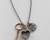 Valentines Day Gifts, Rustic heart, Key, Charm necklace, Handmade by Hapa Girls, gifts for Valentines day, gifts for her