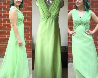 Vintage 60s Mint Green Sleeveless Formal Maxi Dress Size 6/8