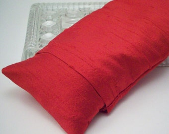 Silk Eye Pillow - Flax Seed with Lavender or Unscented in Red Dupioni Silk