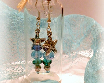 Mermaid Treasure Earrings in a Bottle