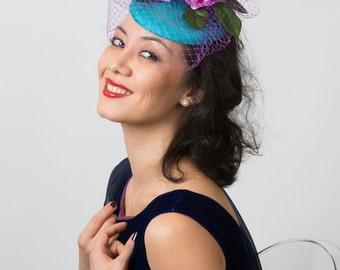 Turquoise blue fascinator blue floral fascinator hat wedding derby mini hat MEMORIES 2