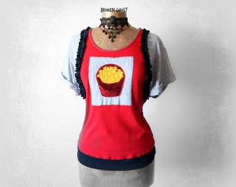 Food Clothing French Fries Shirt Sequin Patch Upcycled Clothing Red Funky Top Rolled Up Sleeves Retro T-Shirt Eco Friendly Clothes M 'LEANN'