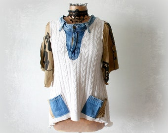 Hipster Sweater Women Grunge Clothing Denim Jeans Bohemian Top Cableknit Jumper Artistic Shirt Funky Urban Chic Boho Tunic Top M 'VERONICA'