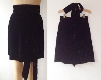 vintage velvet skirt / black velvet skirt / Daphne skirt