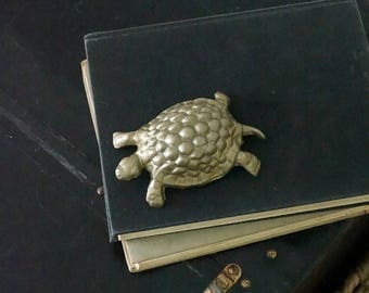 Turtle paperweight, metal shelf decor, painted metallic, brass color