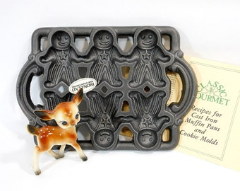 1984 Vintage Gingerbread Man Baking Pan | All American Ironclad Mold | John Wright | Christmas Ornament Mold | Gift For Baker | Recipes
