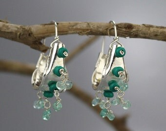 Turquoise Howlite Earrings, Silver Hoops, Boho Hoop Earrings, Turquoise Jewelry, Gypsy Earrings, Something Blue, Blue Earrings, Gift Idea