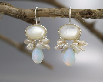 Pearl Bridal Earrings, Sterling Silver, Mother of Pearl Bee Earrings, Wedding Earrings, Gift for Her, Wedding Jewelry, Gift for Wife