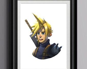 "Cloud Strife Art Print | 8"" x 10"" Final Fantasy VII Art | Video Games | RPG | FFVII | Pop Culture | Geek Art | Nerd | Final Fantasy 7"