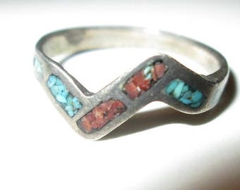RING  - TURQUOISE - CORAL  - Handmade - Inlay   - 925 - Sterling Silver - size 4 3/4 -  Turquoise180