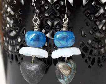 Tarnished Heart Earrings - salvaged jewelry, lampwork beads, blue, upcycled