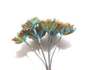 Bellflower Lampwork Headpins, Lampwork Flower Headpins, Flower Headpins, Set of 6 by Dry Gulch, Sweet Pea #523