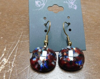 Red White and Blue Fused Glass Earrings