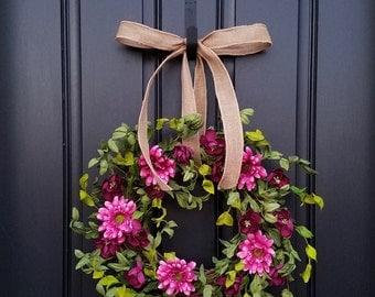 SPRING FRONT DOOR Wreaths, Spring Wreaths, Twoinspireyou, Pink Wreaths, Pink Daisy Wreaths, Wreath for Spring, Front Porch Wreaths