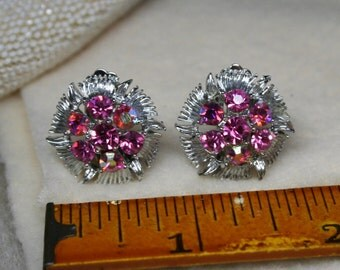 Vintage 1950's Judy Lee Pink Rhinestone Starburst Clip On Earrings Silver Flower