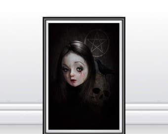 Goth Girl Art Print - Gothic Art - Goth Girl And Skull - Goth Girl Wall Decor - A3 Art Print - Occultist