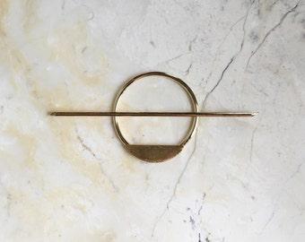 Circle Hair Stick Set. Brass Hair Stick. Bun Holder. Gold Hair Accessory. Modern Hair Stick. Minimal. Golden Brass.