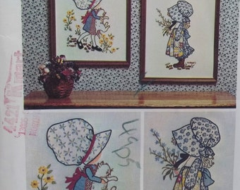 Vintage Holly Hobbie Embroidery Transfers, Simplicity 6005 Transfers for 2 Holly Hobbie Samplers 12 X 5, Embroidered Wall Decor, Needlework