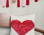 Hand Knit Throw Pillow in Red Heart - Valentine's Day Decor - Accent Pillow - Cushion - Decorative Pillow