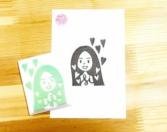custom illustrated portrait rubber stamp | custom design service & stamp | business stamp | gift for family | handmade by talktothesun
