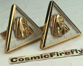 Big Men's Vintage Cufflinks Gold Pyramid Egyptian King Cufflinks Men's Cufflinks Antique Cufflinks ANSON Cufflinks