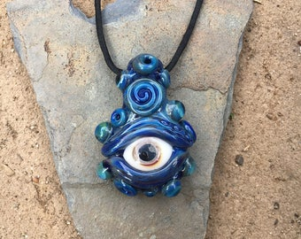 Blue Monster Eye Pendant (Borosilicate Glass)