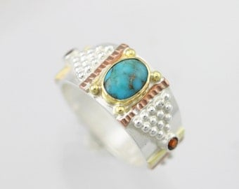 Oval Solitaire Totem Ring 14k 2nd (Turquoise) Made to Order