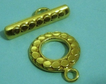24k Vermeil Dots Round Toggle Clasp, 925 Sterling Silver, 14mm Ring, bar 21x5mm, 1 set