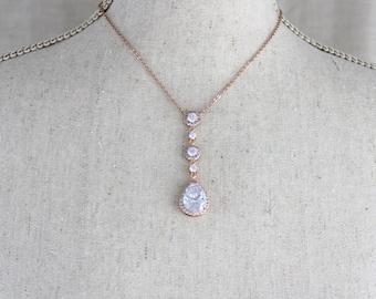Rose gold necklace, Bridal necklace, Bridal jewelry, Rose gold Wedding jewelry, Rose gold Bridesmaid necklace, Teardrop necklace, Pendant