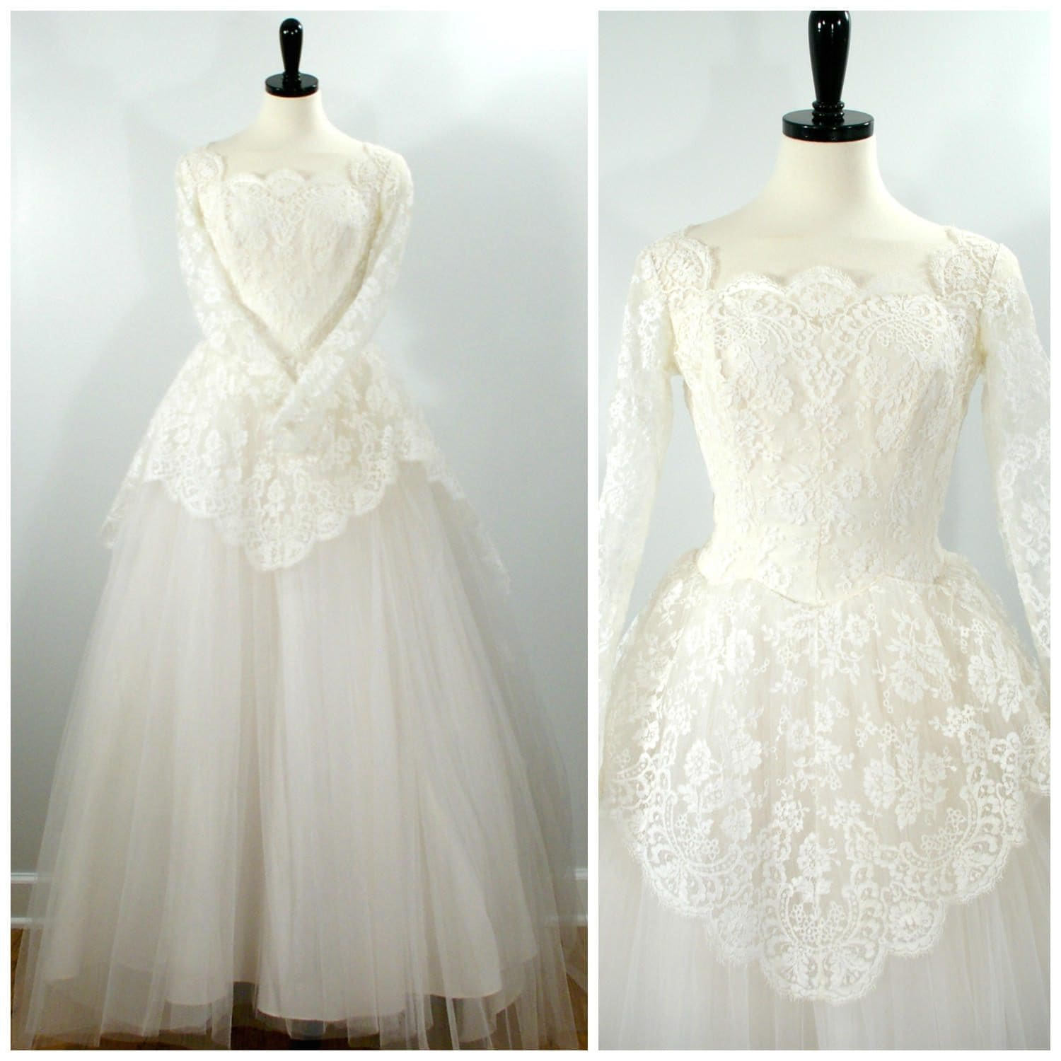 Vintage 1950s wedding dress chantilly lace and tulle wedding for Chantilly lace wedding dress