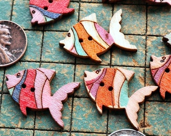 20 wood fish buttons, 2 hole, assorted colors, sewing, crafts, angel fish, scrapbooking, maker, whimsical, school of fish