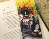Garden Cat Bookmark, English Cottage Garden Flowers, Cat Reading Book Art Bookmark
