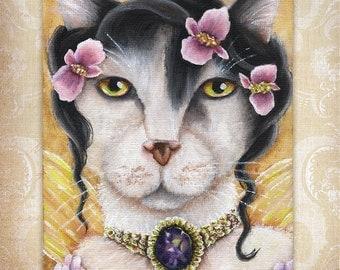 Begonia Fairy Cat, White Cat, Flower Fantasy 8x10 Fine Art Print