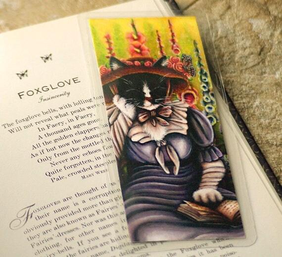 Garden Cat Bookmark, English Cottage Garden Flowers, Cat Reading Book Art Bookmark