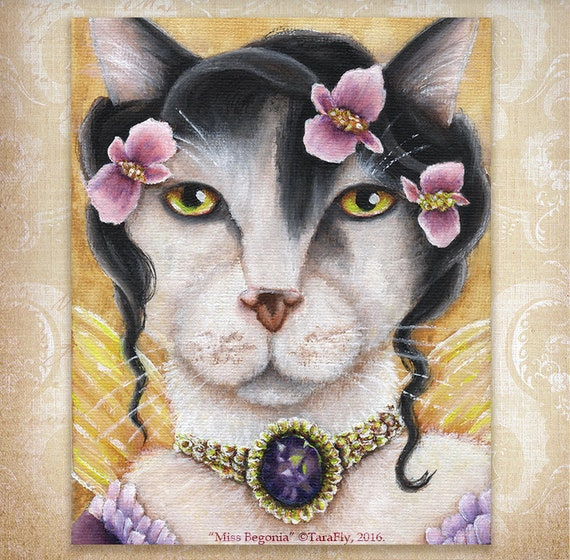 Begonia Fairy Cat, White Cat, Flower Fantasy 8x10 Fine Art Print